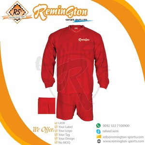 FPU-109 Full Sleeves football shirt and shorts Football Uniforms Sport Suits home red soccer kits