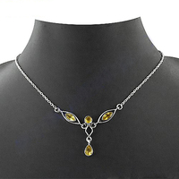 Charming Citrine Gemstone Silver Necklace Jewelry
