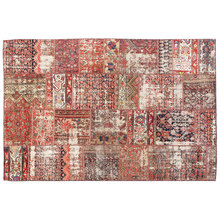 Antique Tribal Wool Red patchwork Area Rug, wool interior home design Persian rug, Vintage Traditional Rug