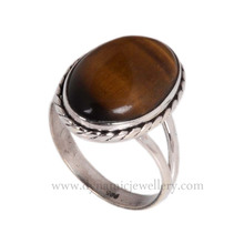 Designer yellow tiger eye 925 silver gemstone ring