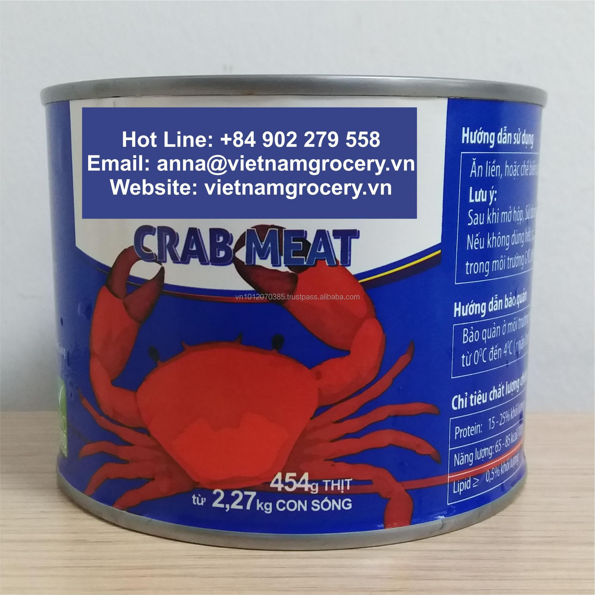 Natural Pasteurized Canned Crab Meat from Vietnam - 454gr