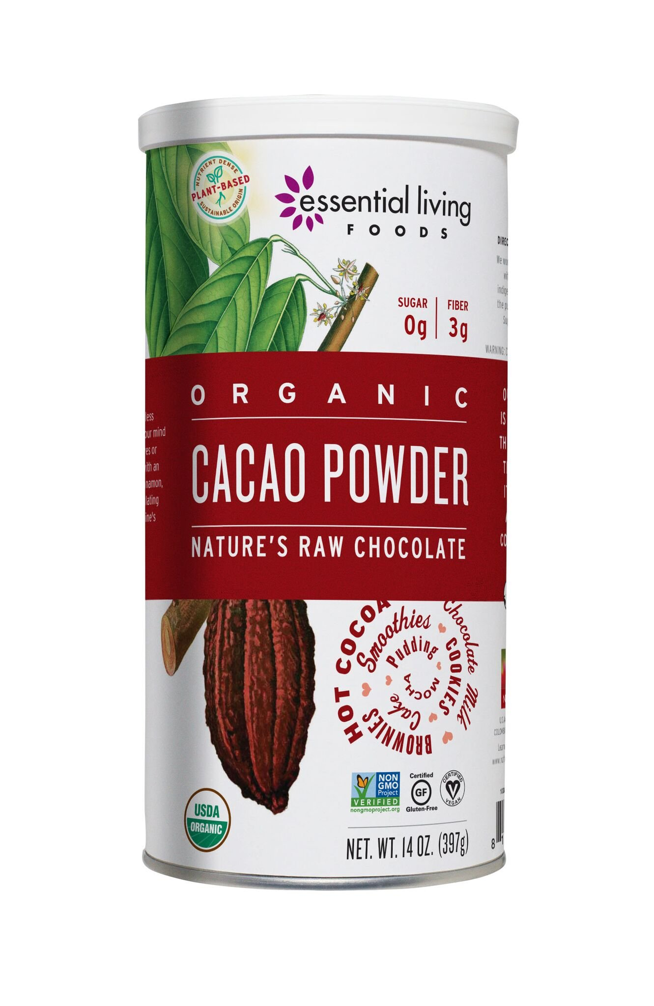 Essential Living Foods Organic Cacao Powder, Healthy Unsweetened Chocolate Powder for Smoothies, Desserts, Baked Goods, Vegan, Superfood Protein Nutrients, Non-GMO, Gluten-Free, Kosher, 14 Ounce Tin