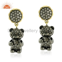 Teddy Bear Design 925 Silver Earring Handmade Pave Diamond GIrls Gift Earring Jewelry