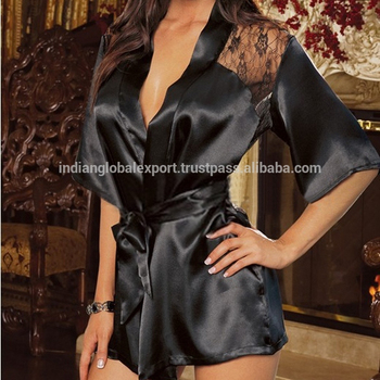 Black Sexy Silk Lace Dressing Gown Bath Robe Lingerie Nightdress Buy Sexy Girls Nightdress Black Satin Product On Alibabacom