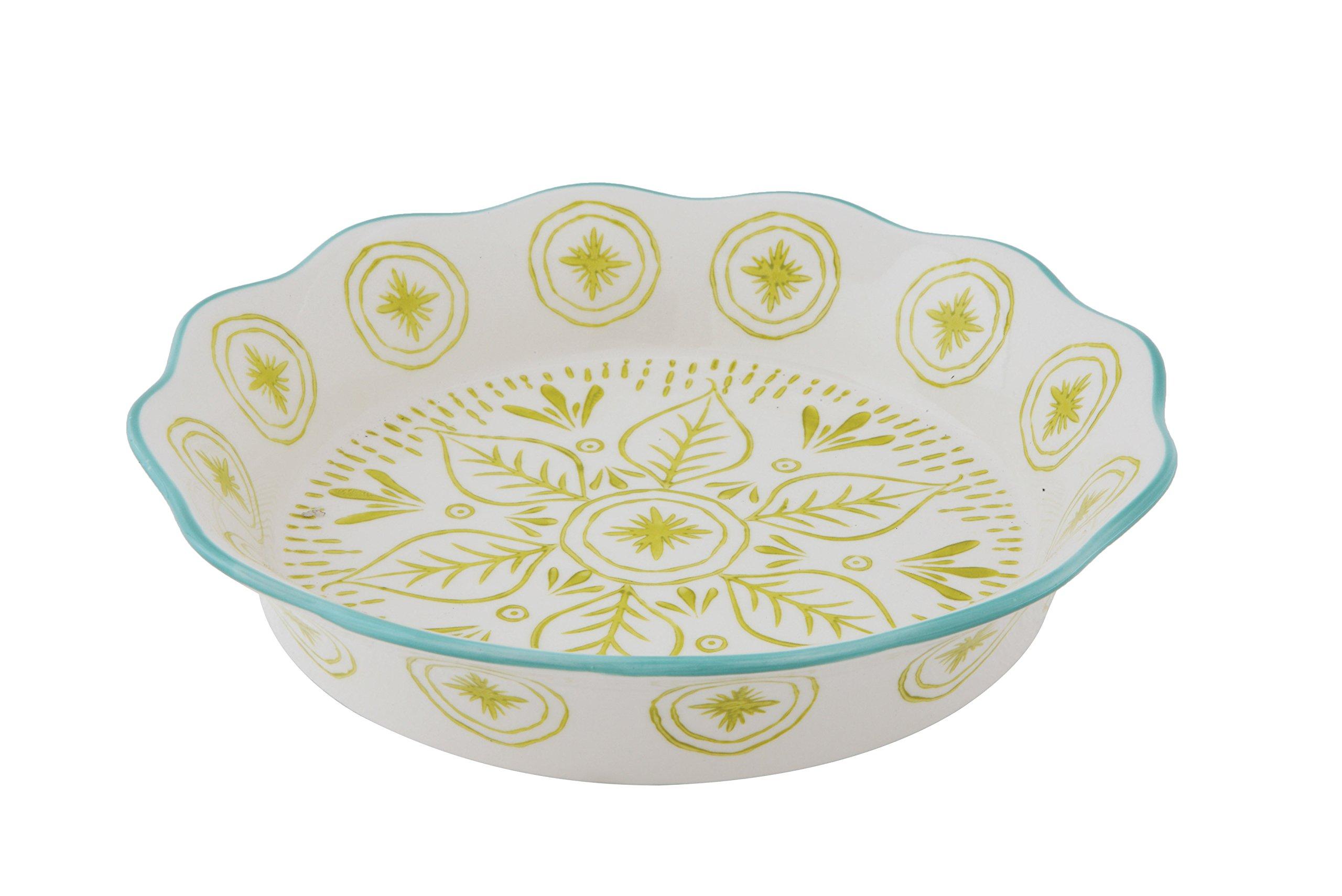 Creative Co-Op DA7737 Green & Blue Stoneware Hand-Stamped Pie Dish