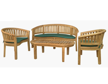 Bench Met Kussen : Pinda banaan teak hout set tuinmeubelen outdoor bench stoel set met
