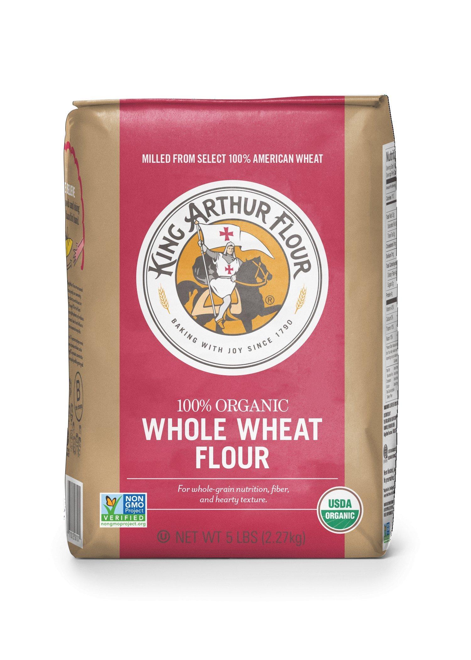 King Arthur Flour 100% s Organic Premium Whole Wheat Flour, 5 Pound