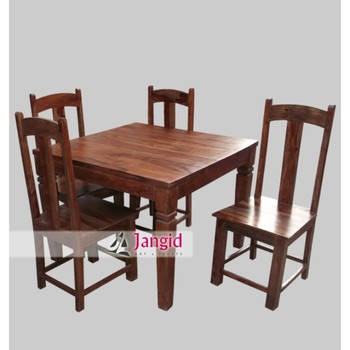 Latest Indoor Indian Sheesham Wooden Square 4 Seater Dining Table And Chairs Set Designs
