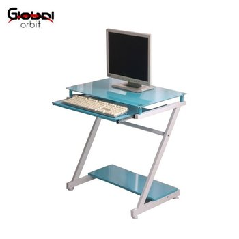 Home Furniture Workstation Glass Computer Table Desk With Sliding Keyboard  Tray