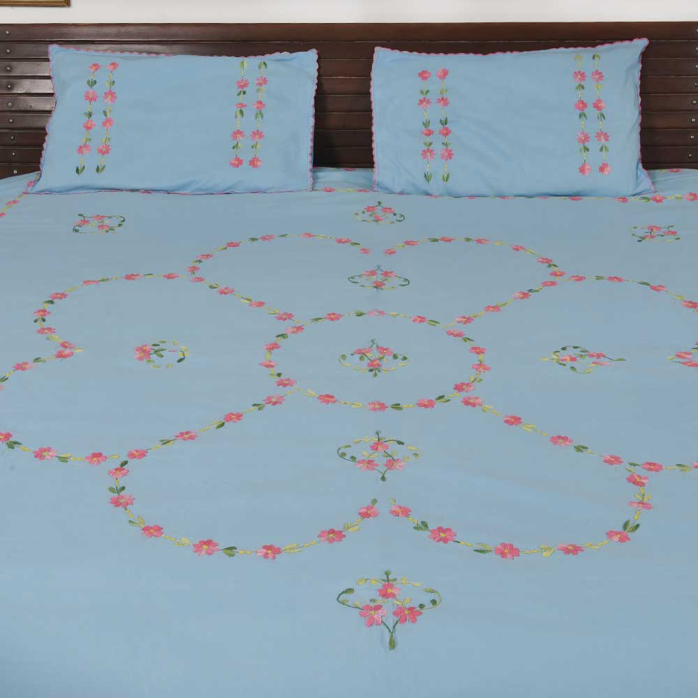 Handmade bed sheets design - Pink Handmade Bed Sheet Linen With Yellow And White Floral Design Bl 41