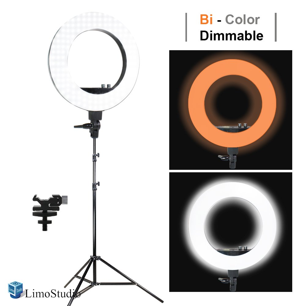 "LimoStudio LED 18"" Ring Flash Light Dimmable SMD LED Lighting Kit 5500K Photography Photo Studio Light Stands, AGG1775"
