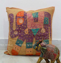 "Royal Indian Handmade Elephant Patchwork Pillow Sofa Throw Cushion Cover 16"" Cushion Cover"