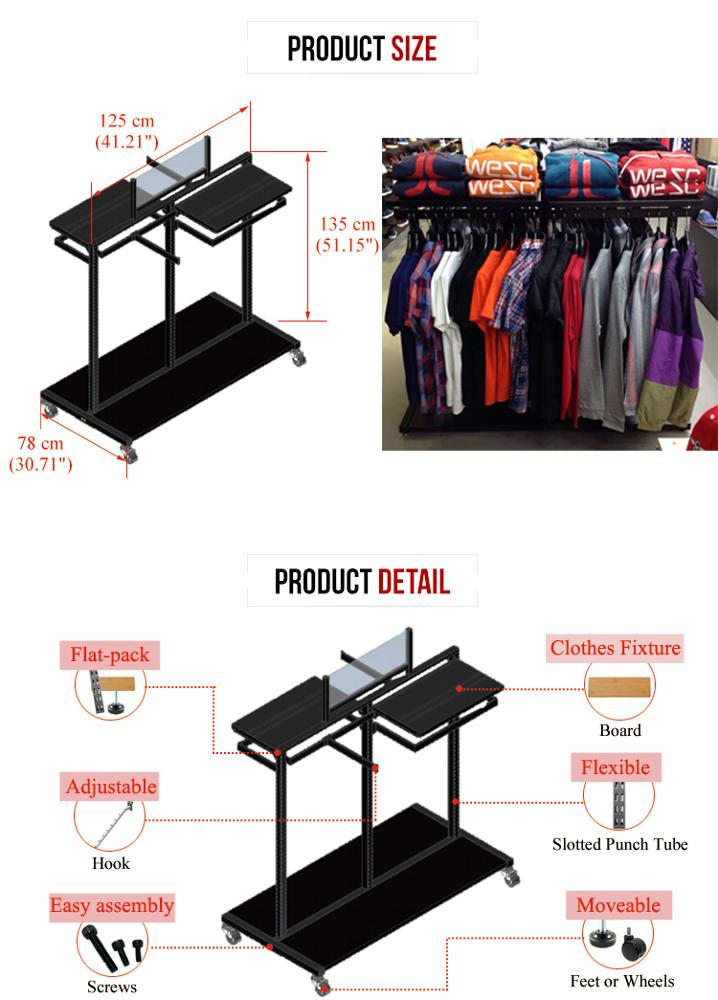 Professional shop black clothing furniture stand