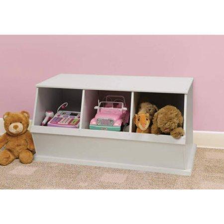 Stackable Three-Bin Storage Cubby, Multiple Colors, Children's Storage Organizer, Playroom Set, Kid's Furniture, Three-Bin Design, Cubby Wooden Storage Space, Toy Chest, BONUS e-book (White)