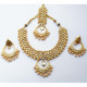 Fancy Pearls Designer Meena Kundan Wedding Gold Plated Necklace Earring Tika Jewelry Set In Gold Color