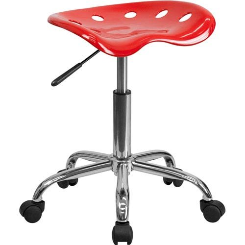 Parkside Vibrant Red Tractor Seat and Chrome Stool