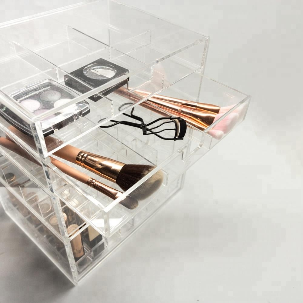 Acrylic 4 Layers Makeup Cube Collection Boxes
