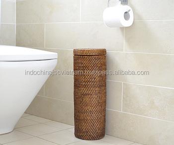 Handicraft Brown Paper Holder Rattan Toilet Roll
