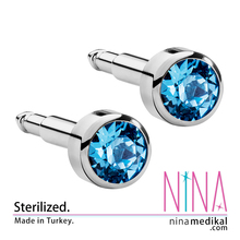 Nina - Medical Stainless Steel Ear Piercing Studs - 1200 pairs - Aquamarine - 3 mm