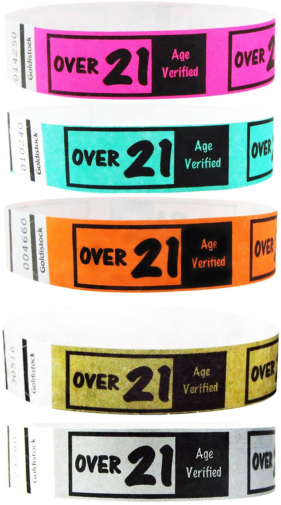 "Goldistock 3/4"" Tyvek Wristbands Over 21 - 500 Ct. Variety Pack - (100/Color) - Metallic Gold, Metallic Silver , Neon Pink, Neon Aqua , Neon Orange - Easy Drinking Age Identification"