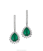 Classic Diana Earring Set with 2 center stone Emerald Pear Shape cut 1.50ct and 17 small diamonds around it