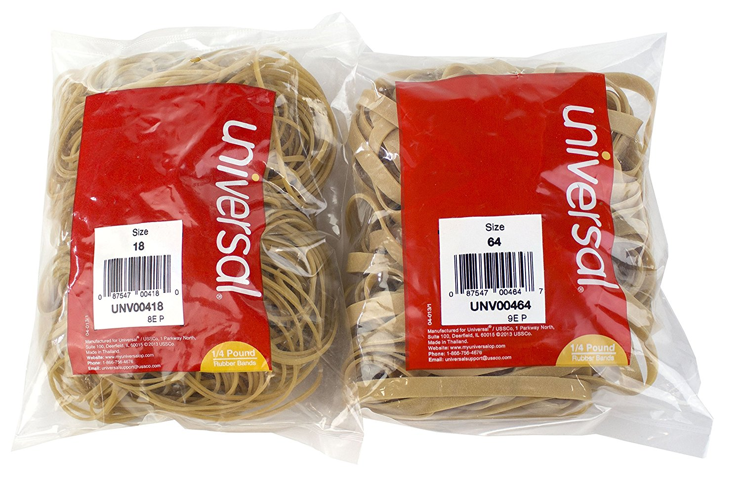Maven Gifts: Universal 00464 64-Size Rubber Bands 1/4 lb. bag with Universal UNV00418 18-size Rubber Bands 1/4 lb. Bag