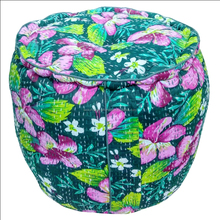 Indian floral handmade cotton kantha round ottoman printed pouf