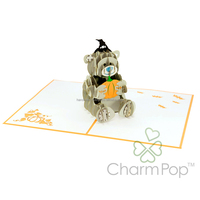 Halloween Me to You pop up card Teddy bear 3d handmade card Holidays paper cutting card