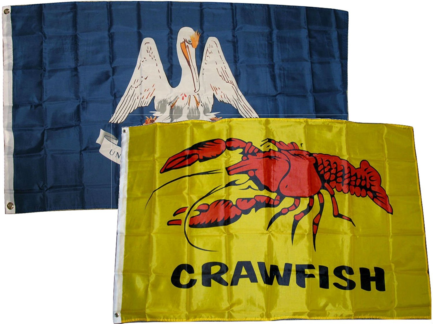 3x5 3'x5' Wholesale Combo Set State Louisiana & Crawfish Seafood 2 Flags Flag Banner Brass Grommets House Banner Brass Grommets Fade Resistant Double Stitched Premium Quality