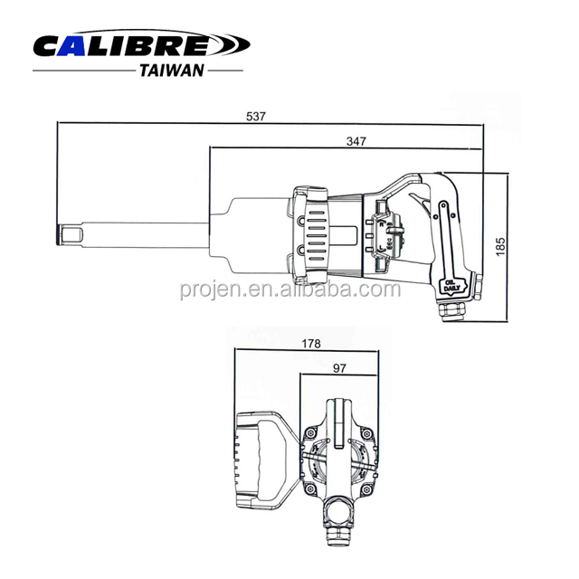 "CALIBRE 1"" Pinless Straight Long Air Impact Wrench Gun Straight Pneumatic Wrench"