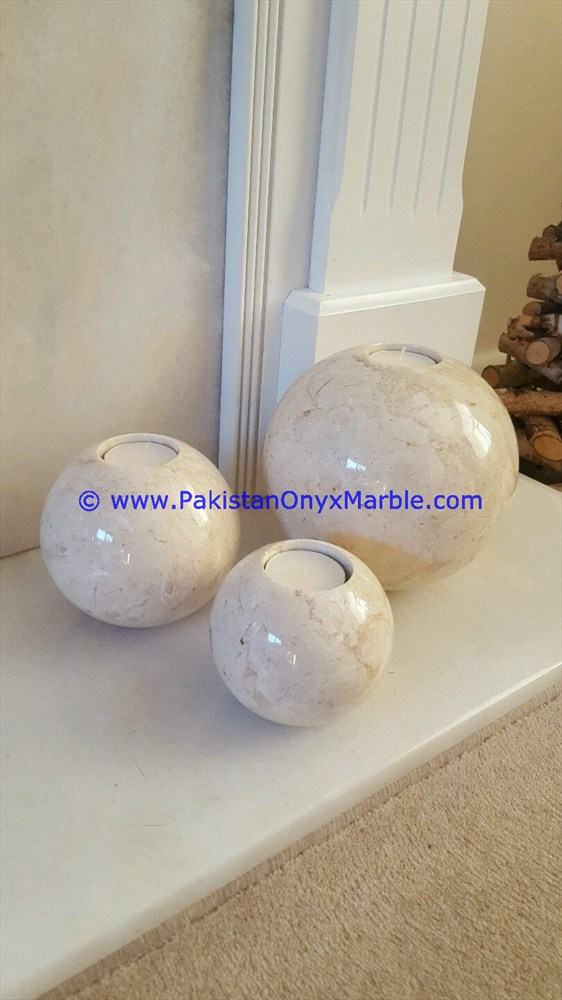 UNIQUE MARBLE CANDLE HOLDERS SPHERE BALL SHAPED STANDS