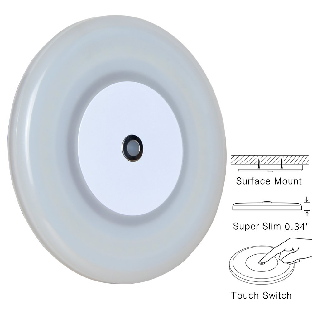 "RV Boat Dome Light 12 Volt LED Ceiling Light Inbuilt Touch Dimmer Switch for Camper Trailer Marine Yachts Interior Dimmable Lighting Surface Mount 4.7"" 7W Cool White"