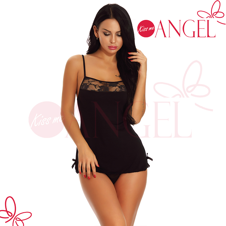 Teddies Lower Price with Sheer Mesh Babydoll And Matching G-string Panty Black Grey Large Meticulous Dyeing Processes