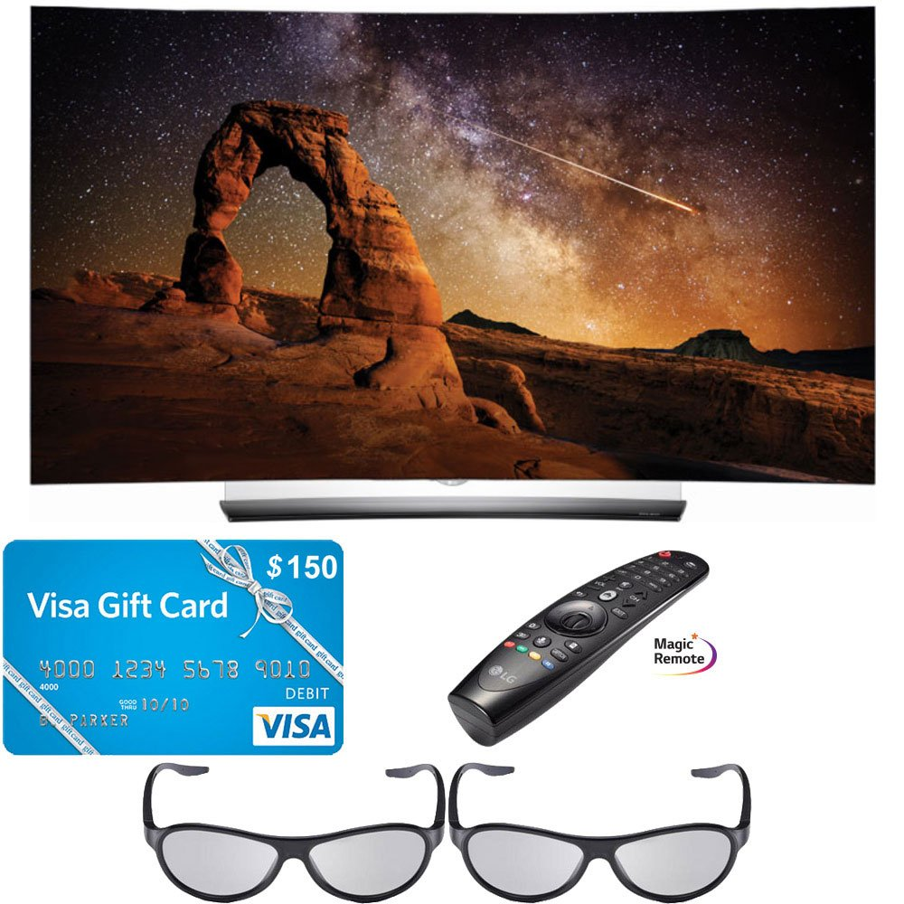 LG OLED55C6P 55-Inch C6 Curved OLED HDR 4K 3D Smart TV with Magic Remote Control and 3D Glasses PLUS $150 Visa Gift Card
