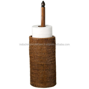 Rattan Wicker Toilet Roll Holder Perfect For Bathroom