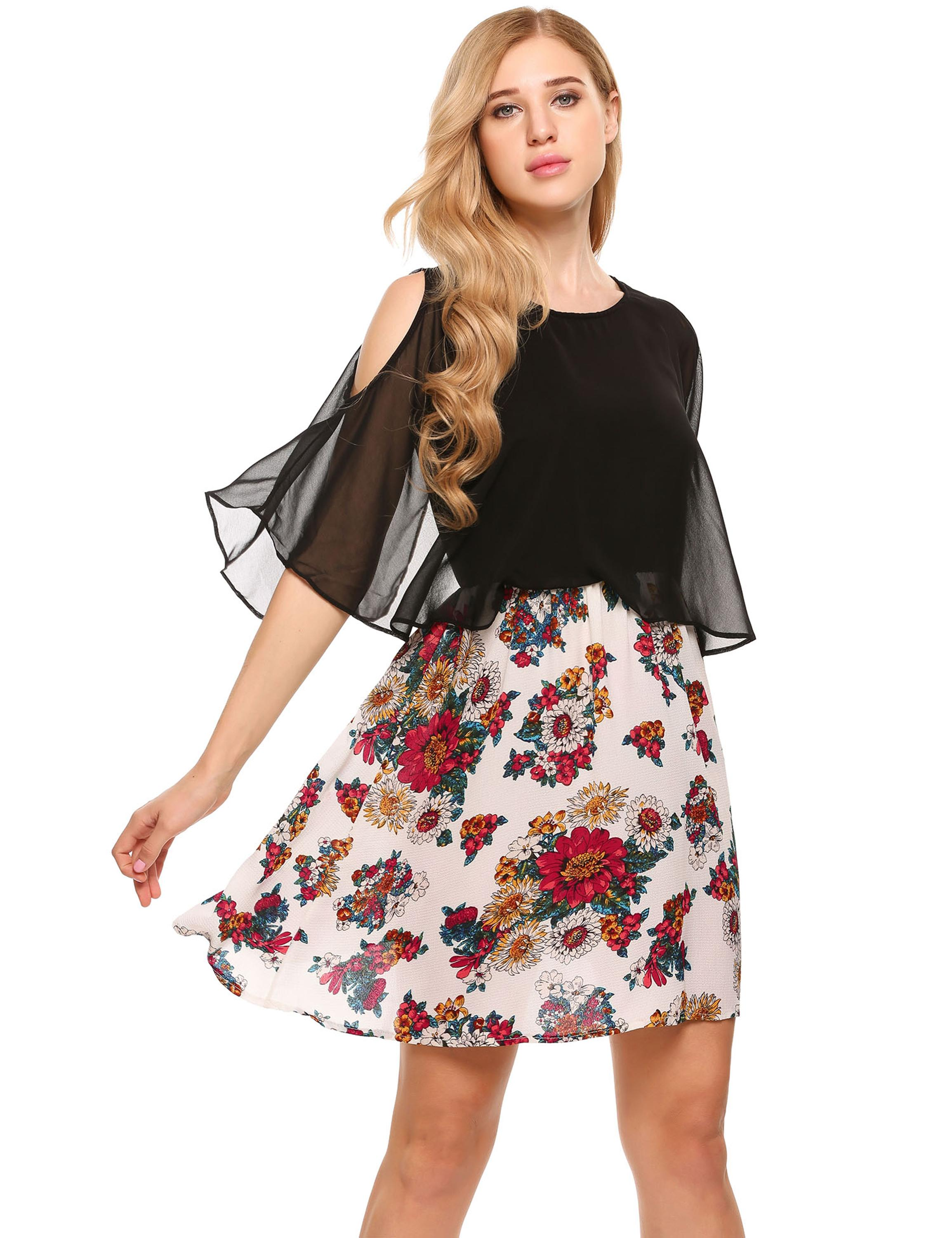 Cold Shoulder Floral Patchwork Chiffon A-line Dress