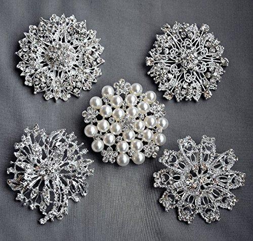 8502a315b Get Quotations · 5 Rhinestone Brooch Pin Back X LARGE Pearl Crystal Wedding  Brooch Bouquet Invitation Cake Decoration Hair