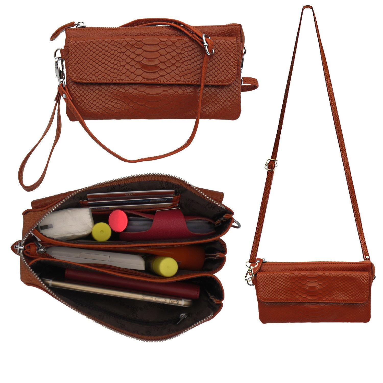 Shalwinn Women S Genuine Leather Crossbody Purse Shoulder Bag Cellphone Pouch Wristlet Wallet Clutch With Long