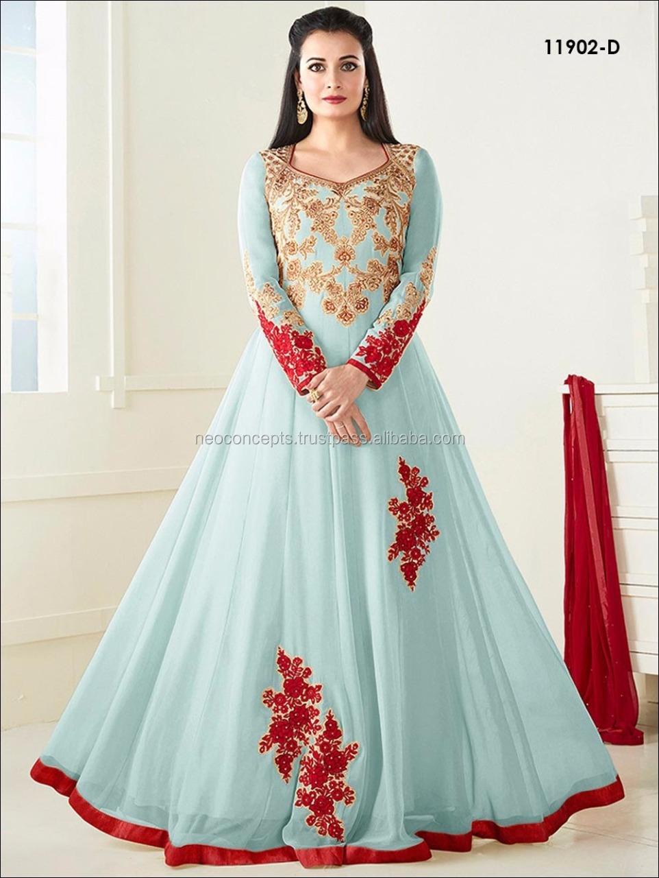 Bollywood Indian Anarkali Dress / Ladies Winter Suit Salwar Kameez ...