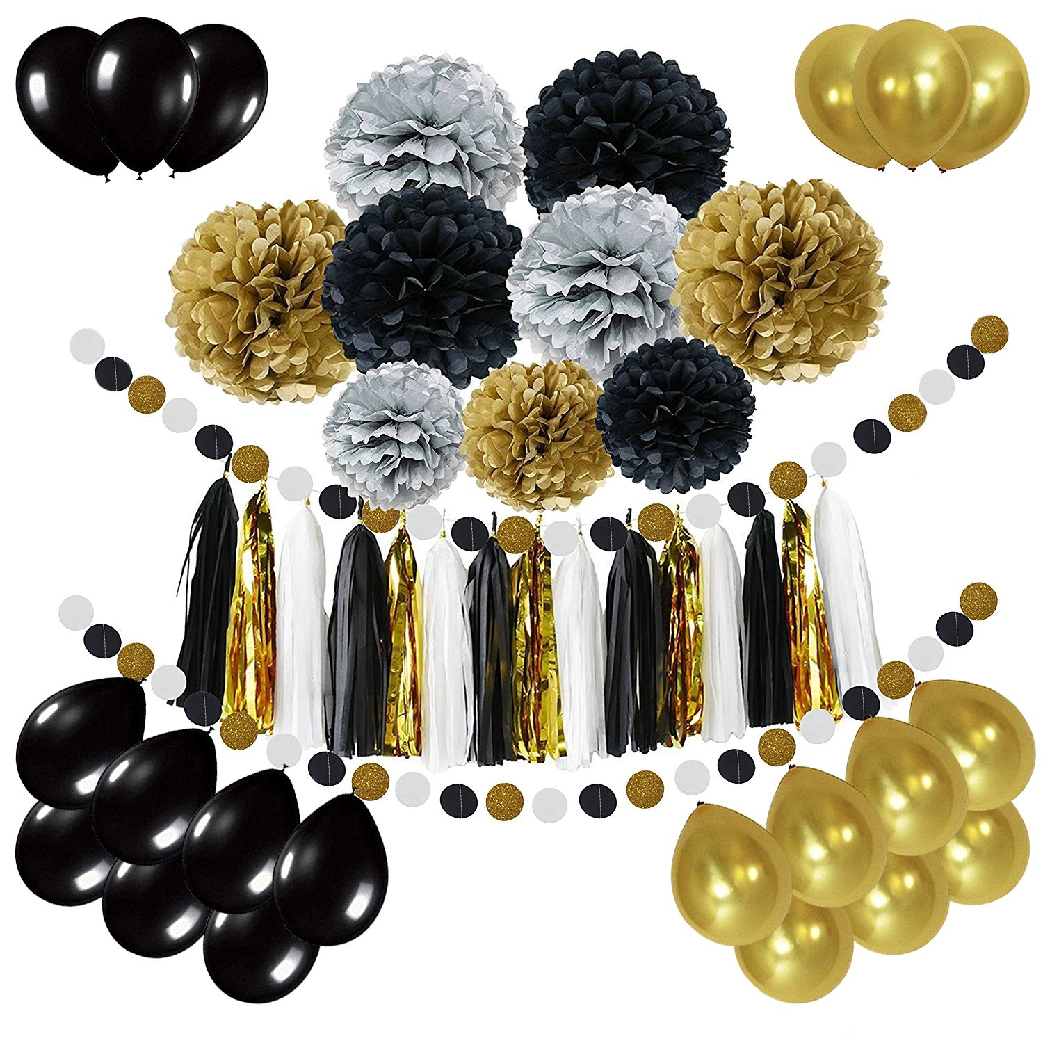 Newland Tissue Paper, 46 pcs Party Decorations, Pom Poms Flowers, Tissue Tassel Garland, Latex Balloons, Polka Dot garland Kit, For Wedding Birthday Party Festival Decorations (Black Silver Gold)