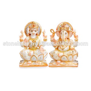 Beautiful White Marble Laxmi Ganesha Statues