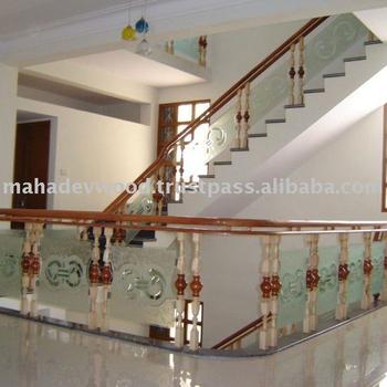 Madera Escalera De Cristal Moderna De Barandillas En Tasa Economica - Escaleras-de-cristal-y-madera