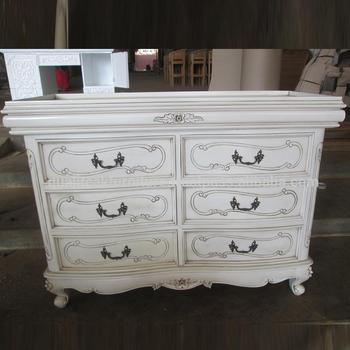 Antique French White Paint Mahogany Chest Of Drawers