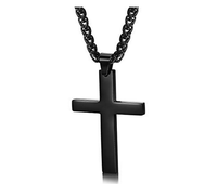 Stainless Steel Chain Black Cross Necklace