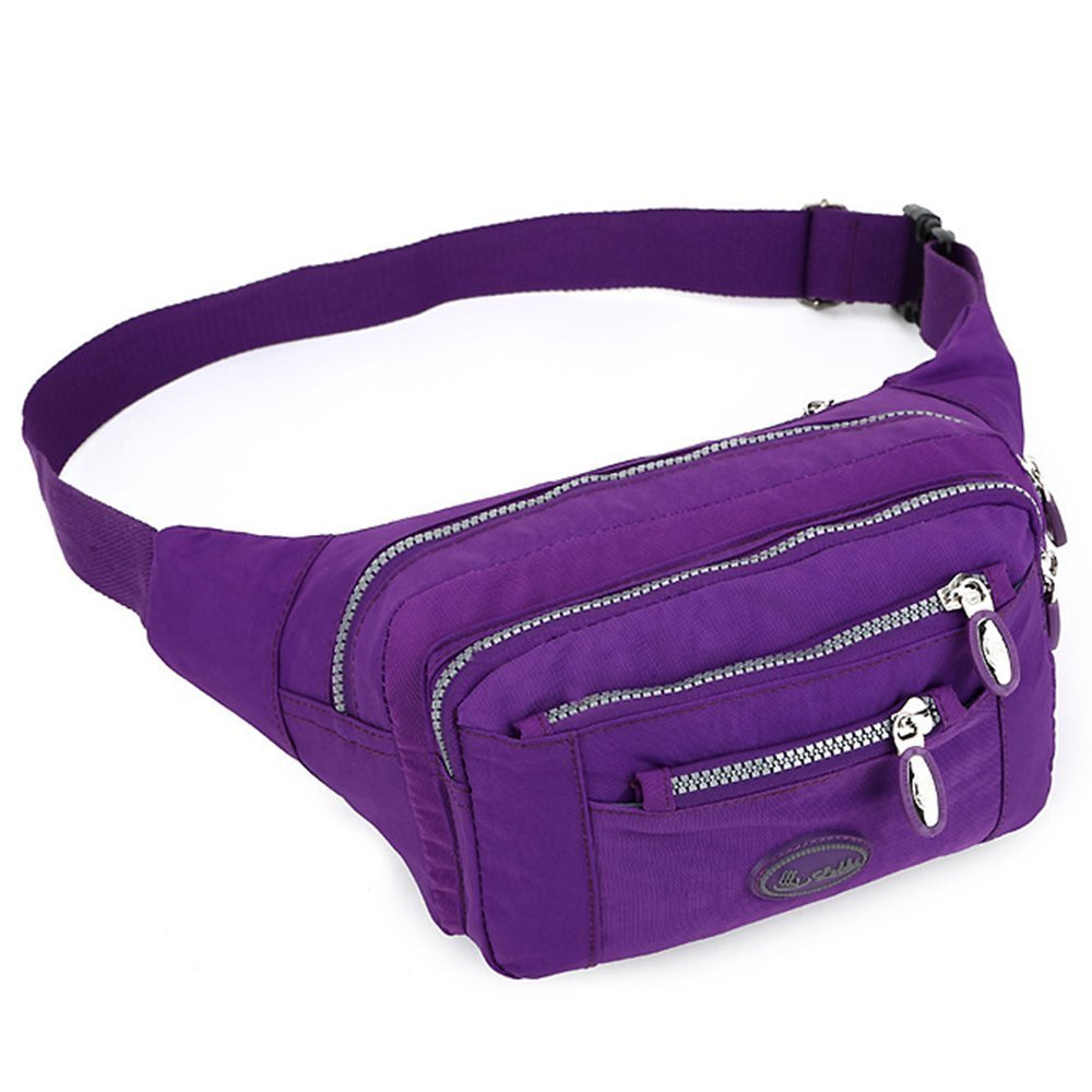 TOP-UP women's Solid Color Fanny Pack,Nylon Waist Bag 5 Zippered Compartments Tour Lumbar Pack Sports Bag
