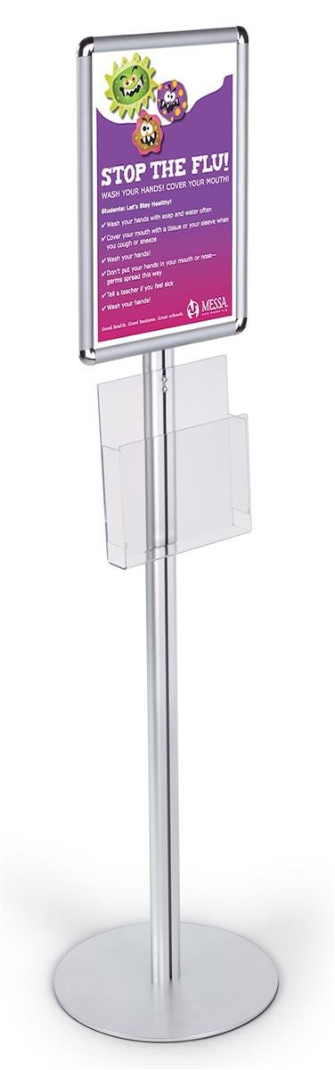 54-inch-tall Snap-Open Poster Stand for 11x17 Graphics, Includes Clear Acrylic Brochure Pocket - Silver Aluminum