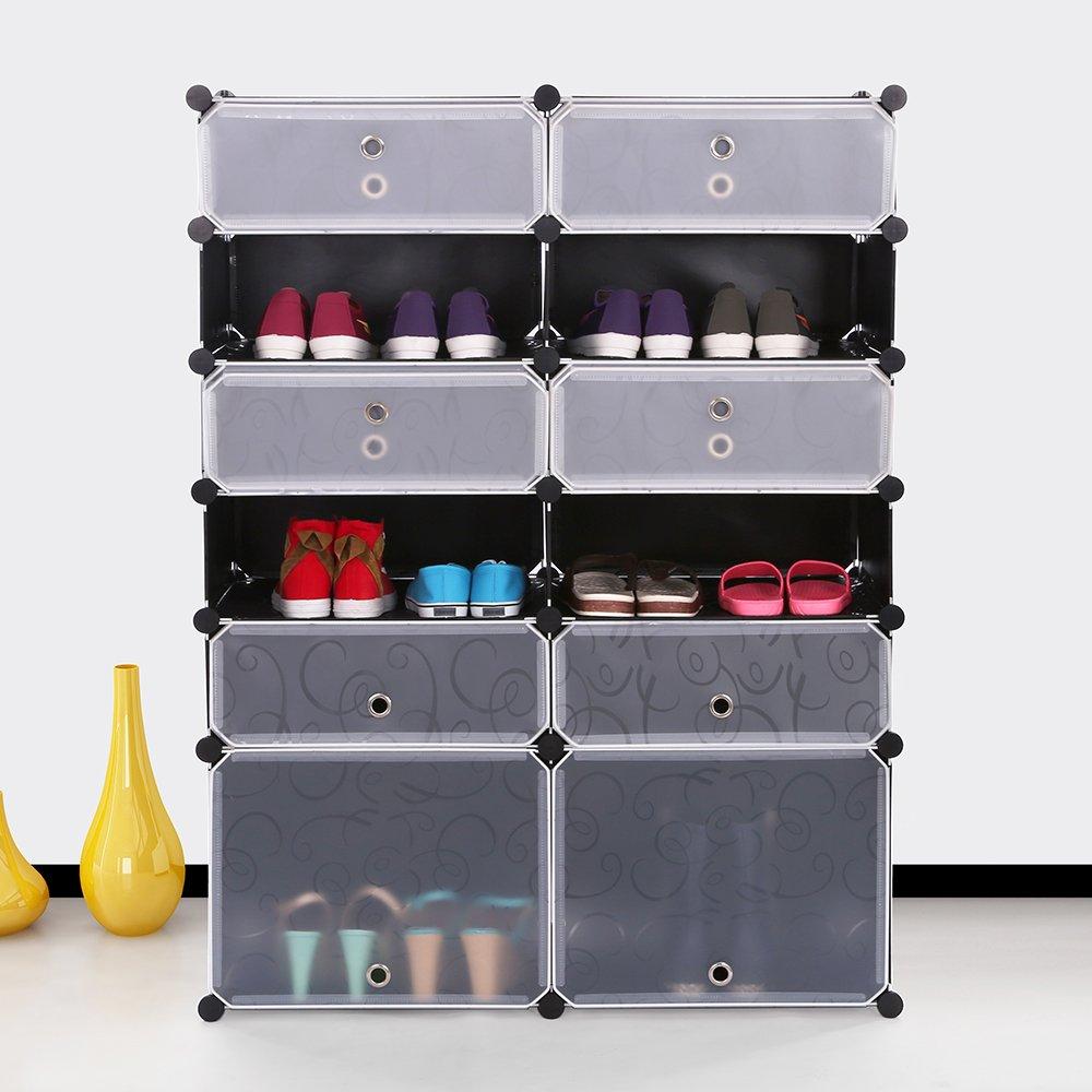 maxgoods Shoe Rack Free Standing,Cube Organizer Diy Shoe Storage Drawer Units Boot Shoe Boxes with Doors (Black-6L)