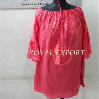 pink fabric pink hand embroidered top tunic use as casual
