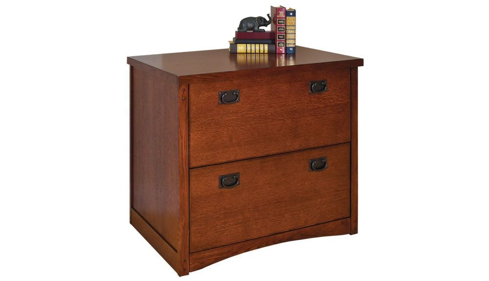 "Mission Pasadena Two Drawer Lateral File - 34""W x 19.5""D x 29""H Mission Oak Finish Dimensions: 33.75""W x 19.5""D x 29""H Weight: 149 lbs."