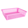 High Quality Rectangular Storage Basket Serving Plastic Tray Malaysia Made Pink Color